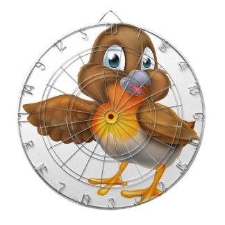 Cartoon Robin Bird Pointing Wing Dartboard