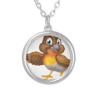 Cartoon Robin Bird Pointing Wing Silver Plated Necklace