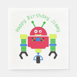 Cartoon Robot Birthday Party Paper Napkins