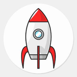 Cartoon Rocket Classic Round Sticker
