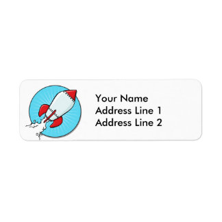 Cartoon Rocket Ship Fun Design Return Address Label