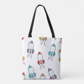 Cartoon Rocket Ship Fun Design Tote Bag