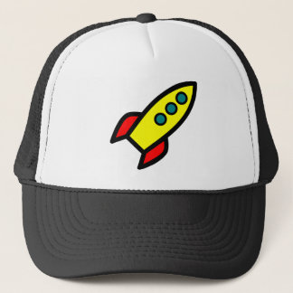 Cartoon Rocket Trucker Hat