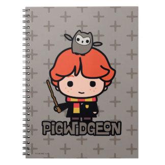 Cartoon Ron Weasley and Pigwidgeon Notebooks