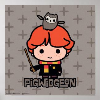 Cartoon Ron Weasley and Pigwidgeon Poster