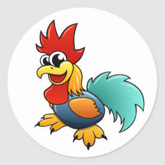 Cartoon Rooster Classic Round Sticker