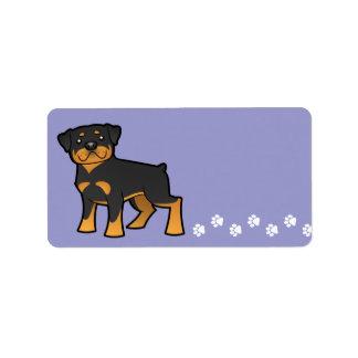 Cartoon Rottweiler Label
