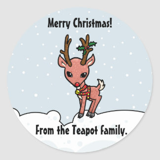 Cartoon Rudolf customise Christmas sticker