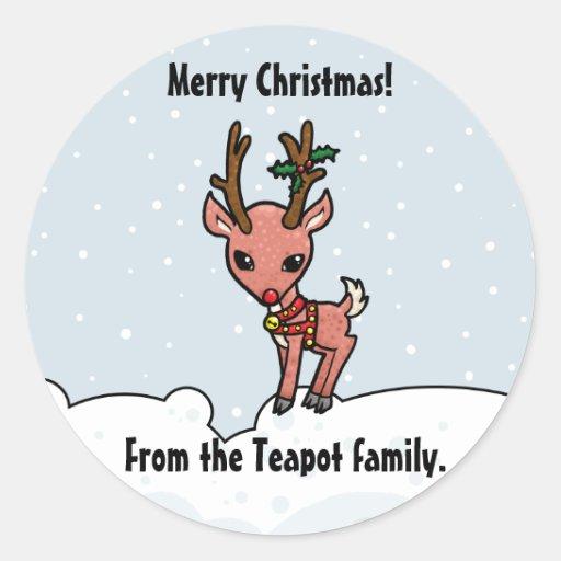 Cartoon Rudolf customise Christmas sticker
