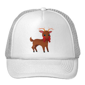 Cartoon Rudolph the Red-Nosed Reindeer w/ Bow Tie Mesh Hats