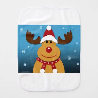 Cartoon Rudolph The Reindeer Christmas Gifts Burp Cloth
