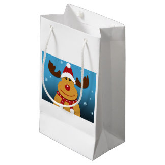 Cartoon Rudolph The Reindeer Christmas Gifts Small Gift Bag