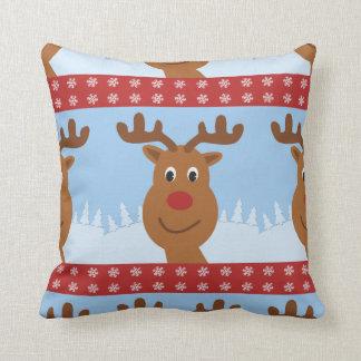 Cartoon Rudolph the Reindeer Reversible Red Cushion