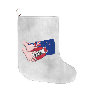 Cartoon Rugby Ball Pass New Zealand Flag Large Christmas Stocking