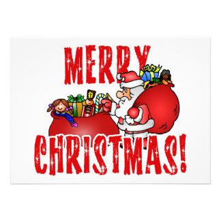 Cartoon Santa And Bags of Christmas Toys Announcement