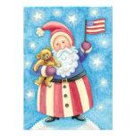 Cartoon Santa Claus American Flag Teddy Bear Party Personalized Announcements