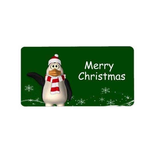 Cartoon Santa Claus Penguin Christmas Gift Tags