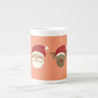 Cartoon Santa Cute Reindeer Smile Pink Girly Sweet Tea Cup