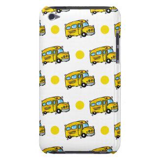 Cartoon School Bus, Yellow & White Polka Dots iPod Case-Mate Cases