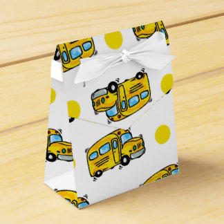 Cartoon School Bus, Yellow & White Polka Dots Favour Box