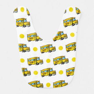 Cartoon School Bus, Yellow & White Polka Dots Baby Bib