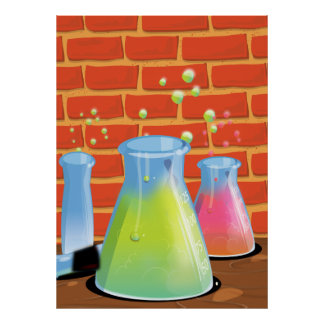 Cartoon Science experiments Posters