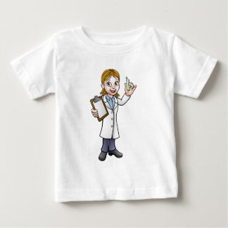 Cartoon Scientist Holding Test Tube and Clipboard Baby T-Shirt
