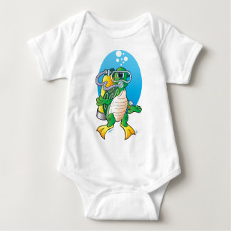 Cartoon Scuba Turtle Baby Bodysuit