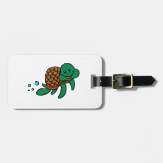 Cartoon sea turtle luggage tag
