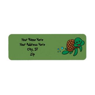 Cartoon sea turtle return address label