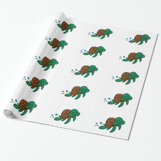Cartoon sea turtle wrapping paper