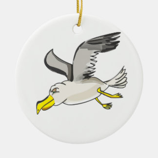 Cartoon seagull flying over head ceramic ornament