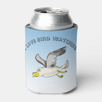 Cartoon seagull flying over head with a blue sky can cooler