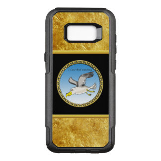 Cartoon seagull flying over head with a gold frame OtterBox commuter samsung galaxy s8+ case