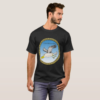 Cartoon seagull flying over head with a gold frame T-Shirt