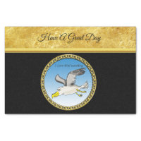 Cartoon seagull flying over head with a gold frame
