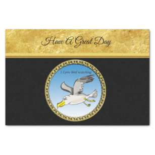 Cartoon seagull flying over head with a gold frame tissue paper