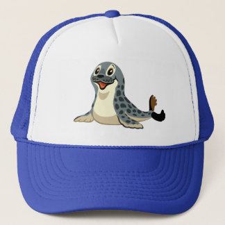 cartoon seal trucker hat
