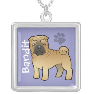 Cartoon Shar Pei (add your pets name) Silver Plated Necklace