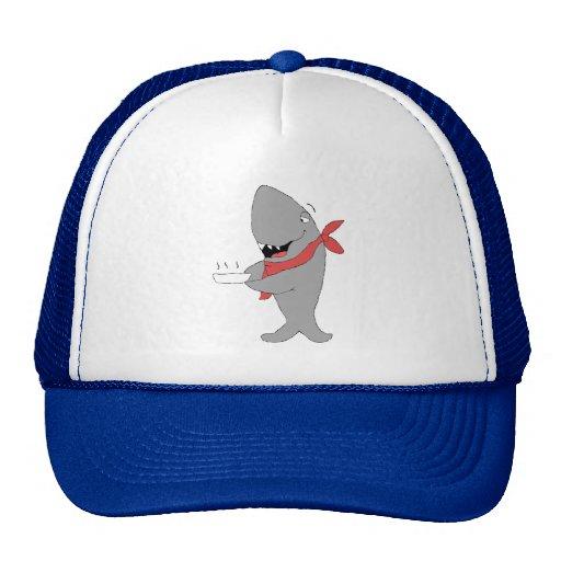 Cartoon Shark Holding Dinner Plate Hats
