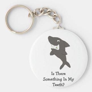 Cartoon Shark With Food In Teeth Key Ring