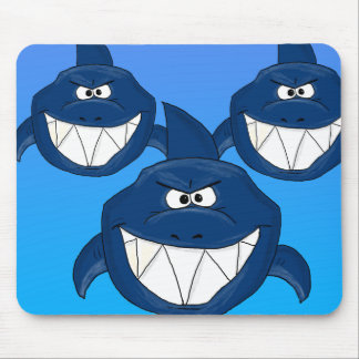 Cartoon sharks mouse pad