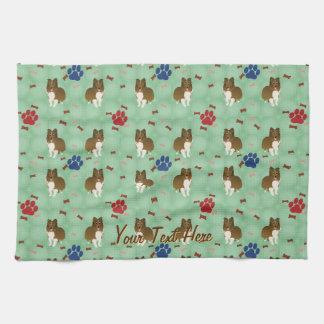 Cartoon Shetland Sheepdog Tea Towel