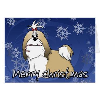 Cartoon Shih Tzu Christmas Card