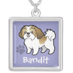 Cartoon Shih Tzu (puppy cut) (add your pets name) Necklaces