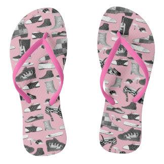 Cartoon Shoes Funny Retro Girly Pink Hand Drawn Thongs