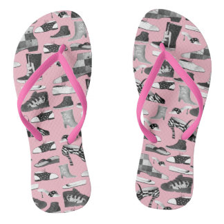 Cartoon Shoes Funny Retro Pink Artistic Girly Chic Thongs