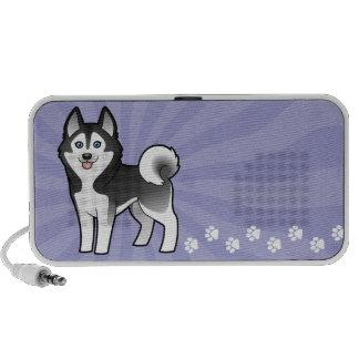 Cartoon Siberian Husky / Alaskan Malamute Laptop Speakers