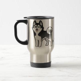 Cartoon Siberian Husky / Alaskan Malamute Stainless Steel Travel Mug