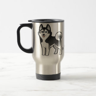Cartoon Siberian Husky / Alaskan Malamute Travel Mug